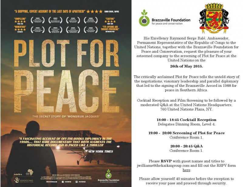 Jean Yves Ollivier In Attendance at United Nations Screening of Plot For Peace May 26th, 2015